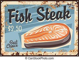 ステーキ, プレート, 鮭, fish, 錆ついた, シーフード, フィレ
