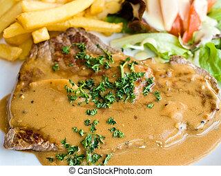 ステーキ, 水分が多い, 牛肉, 肉