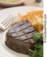 ステーキ, frite, フィレ, watercress