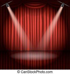 ステージ, ベクトル, スポット, イラスト, カーテン, ライト