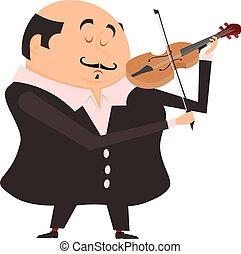 ステージ, ベクトル, バックグラウンド。, 人, 遊び, violin., 音楽家, バイオリン, 彼の, 白, 漫画, イラスト, 株, vektornayaya, violinist.