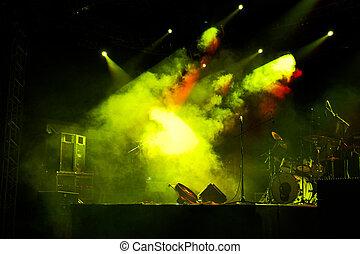 ステージ, 中に, ライト, 2