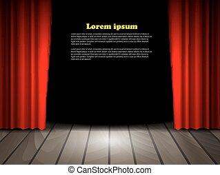 ステージ, 木製である, 劇場, 床, 赤, curtains.
