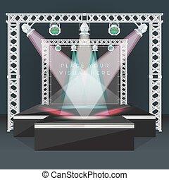 ステージ, 演壇, ライト, 旗, トラス, 背中, 色, 平ら, イラスト