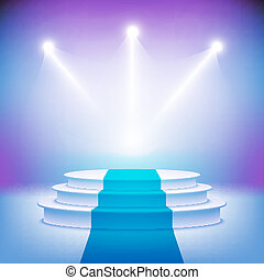 ステージ, 照らされた, 式, ベクトル, 演壇, 賞