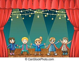 ステージ, 衣服, 実行, 冬, 子供