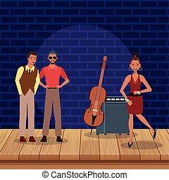 ステージ, 道具, 音楽バンド, ジャズ