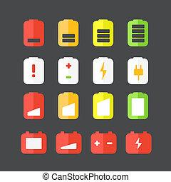 ステータス, 平ら, 別, アイコン, icons., accumulator, デザイン