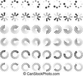 ステータス, 網, ローディング, ページ, icons.