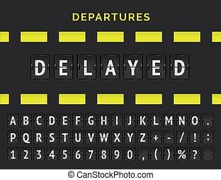 ステータス, 航空機, 到着, ∥あるいは∥, とんぼ返り, alphabet., 出発, 延期された, アナログ, 提示, 空港, 飛行, 印 板, ベクトル, アイコン, 情報