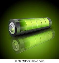 ステータス, 表示器, 電池, 現実的, 緑, 充満, 3d