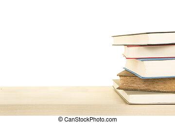 ステープル, の, 5, 本, 横たわる, 上に, a, 木製である, 棚, 上に, a, 白い背景, ∥で∥, スペース, ∥ために∥, コピー