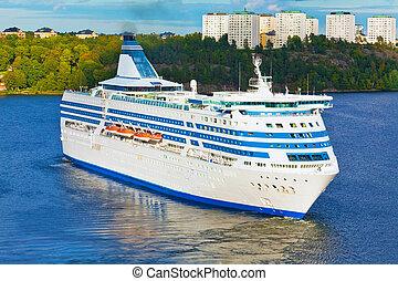 ストックホルム, 巡航, 大きい, 港, スウェーデン, ライナー