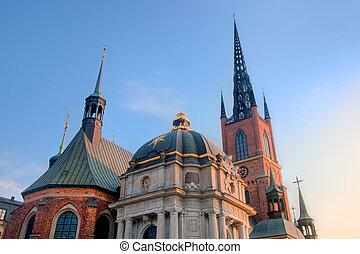 ストックホルム, 教会, sweden., riddarholmen