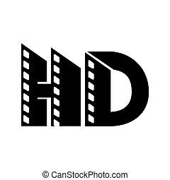 ストリップ, 定義, 頭文字, hd, 手紙, フィルム, 否定的, ロゴ, 高く