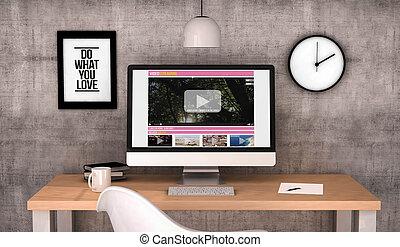 ストリーミング, コンピュータ, ビデオ, ワークスペース