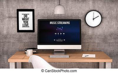 ストリーミング, コンピュータ, 音楽, ワークスペース