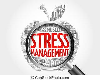 ストレス管理, アップル, 単語, 雲