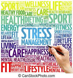 ストレス管理, 単語, 雲, 背景