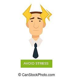 ストレス, オフィス, 避けなさい, 労働者, 強い, 頭痛