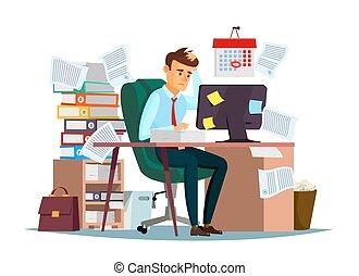 ストレス, ベクトル, 労働者のオフィス, モデル, 働き過ぎ, イラスト, マネージャー, コンピュータ, 机, 失望させられた, 漫画, 人