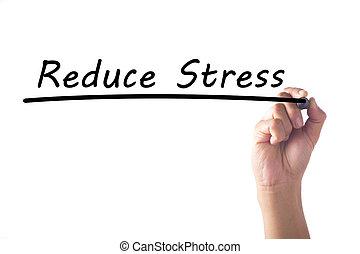 ストレス, 単語, 減らしなさい, 手, 板, 執筆, 透明
