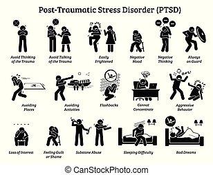 ストレス, 外傷性, symptoms., サイン, ポスト, 無秩序, ptsd