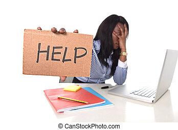 ストレス, 女, オフィス, 仕事, アメリカ人, 黒, アフリカ, 失望させられた, 民族性
