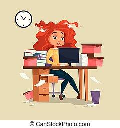 ストレス, 女, 労働者のオフィス, 働き過ぎ, イラスト, 毛, マネージャー, ベクトル, 期限, disheveled, きたない, 女の子, 漫画