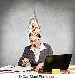 ストレス, 女, 彼女, 火, 脳, because, 持つこと