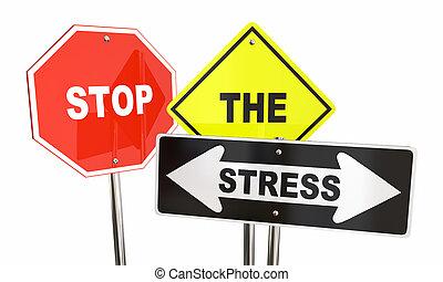 ストレス, 心配, 止まれ, 減らしなさい, より低い, イラスト, サイン, 3d