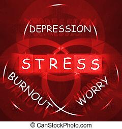 ストレス, 憂うつ, 心配しなさい, そして, 心配, ディスプレイ, 焼損