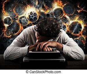 ストレス, 概念, ギヤ, システム障害, 加熱