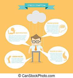 ストレス, 概念, ビジネス, infographic, 健康, 徴候, 人