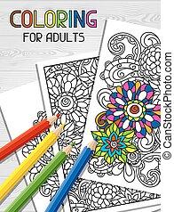 ストレス, 着色, 傾向, 和らげなさい, 創造性, イラスト, 項目, cover., デザイン, 成人, 本