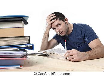 ストレス, 試験, 勉強, 若い, 図書館, fe, 学生, 強調された