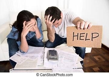 ストレス, 財政, 助け, 恋人, 若い, 心配した, ひどく, 請求, 状態, 家