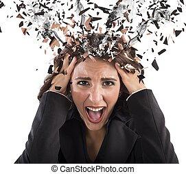 ストレス, 頭, 中に, 煙
