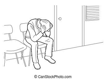 ストレス, headache., 隔離された, イラスト, 心配した, 働きすぎる, ベクトル, 黒い背景, 下に,...