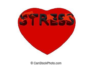 ストレス, heart., レンダリング, 緩む, 単語, shell., 透明, 赤, 3d
