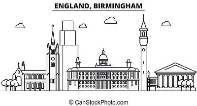 ストローク, 光景, デザイン, イギリス\, バーミンガム, 都市の景観, 風景, ベクトル, スカイライン, 都市, 線である, editable, icons., ランドマーク, 線, 建築, illustration., 有名, wtih