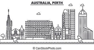 ストローク, 光景, デザイン, オーストラリア, 都市の景観, 風景, ベクトル, スカイライン, 都市, 線である, editable, icons., ランドマーク, 線, 建築, パース, illustration., 有名, wtih