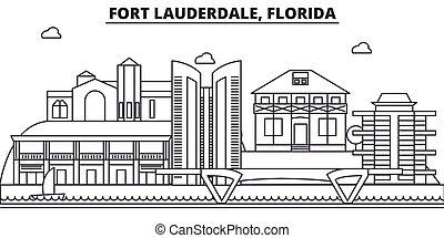 ストローク, 光景, デザイン, 城砦, フロリダ, 都市の景観, 風景, ベクトル, スカイライン, 都市, 線である, editable, icons., ランドマーク, lauderdale, 線, 建築, illustration., 有名, wtih