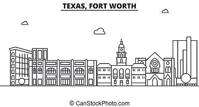 ストローク, 光景, デザイン, 城砦, 都市の景観, 風景, ベクトル, スカイライン, 都市, 線である, editable, icons., テキサス, ランドマーク, 線, 建築, illustration., 有名, wtih, 価値