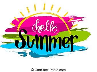 ストローク, 夏, こんにちは, カラフルである, 碑文