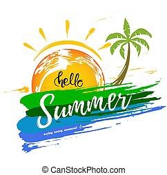 ストローク, 夏, やし, ブラシ, こんにちは