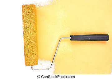 ストローク, 横, 黄色, ブラシ