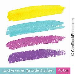 ストローク, 水彩画, セット, ブラシ, カラフルである
