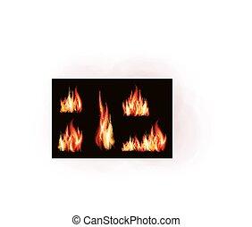 ストローク, 火, 隔離された, イラスト, 現実的, ベクトル, 炎, 背景, 黒