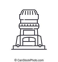 ストローク, 線の意匠, ベクトル, 印, ルーター, 薄くなりなさい, 隔離された, 線, 概念, アイコン, シンボル, アウトライン, 網, イラスト, 木, editable, バックグラウンド。, 白